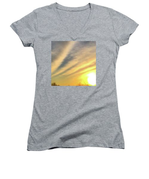 Women's V-Neck T-Shirt (Junior Cut) featuring the photograph Clouds And Sun by Sumoflam Photography