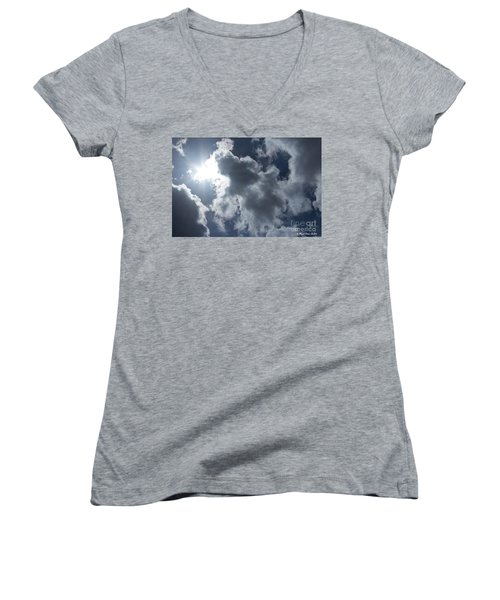Women's V-Neck T-Shirt featuring the photograph Clouds And Sunlight by Megan Dirsa-DuBois