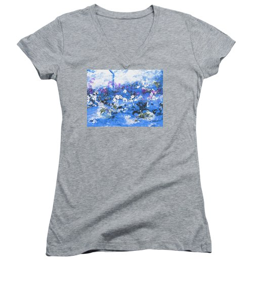 Clouds And Blossom Women's V-Neck T-Shirt (Junior Cut) by Stephanie Grant