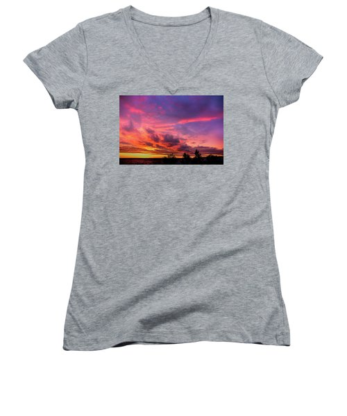Clouds At Sunset Women's V-Neck (Athletic Fit)