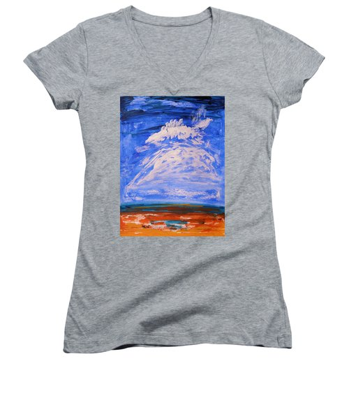 Women's V-Neck T-Shirt (Junior Cut) featuring the painting Clouds Dance by Mary Carol Williams