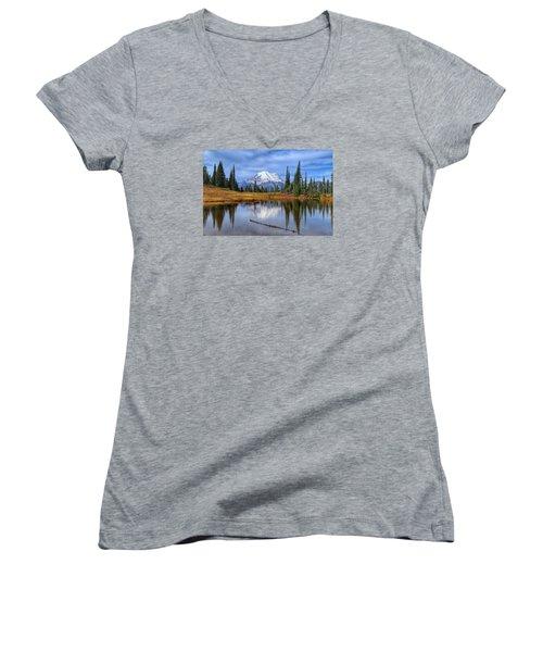 Clouds In The Morning Women's V-Neck T-Shirt (Junior Cut) by Lynn Hopwood