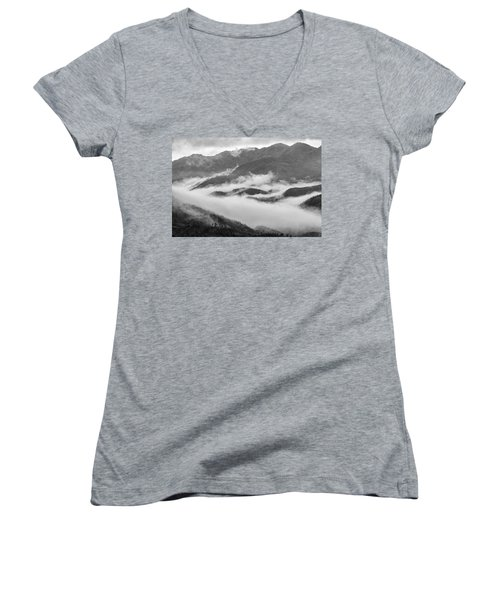 Women's V-Neck T-Shirt (Junior Cut) featuring the photograph Clouds In Valley, Sa Pa, 2014 by Hitendra SINKAR