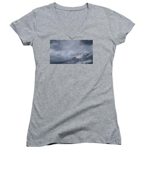 Women's V-Neck T-Shirt featuring the photograph Clouds by Megan Dirsa-DuBois