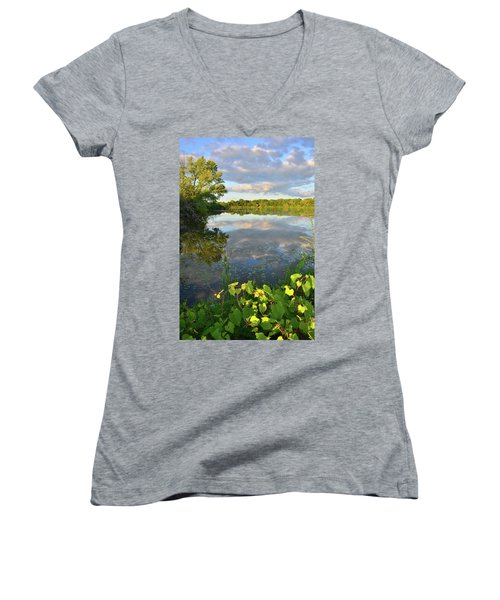 Clouds Mirrored In Snug Harbor Women's V-Neck