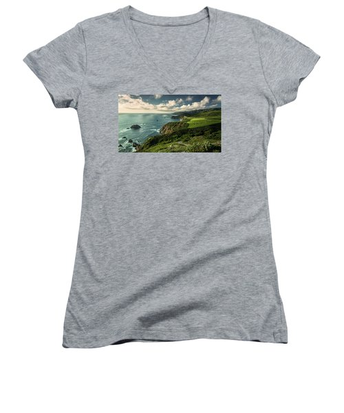 Clouds Over Bixby Bridge Women's V-Neck (Athletic Fit)
