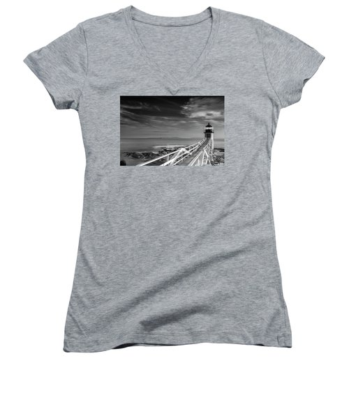 Women's V-Neck T-Shirt (Junior Cut) featuring the photograph Clouds Over Marshall Point Lighthouse In Maine by Ranjay Mitra