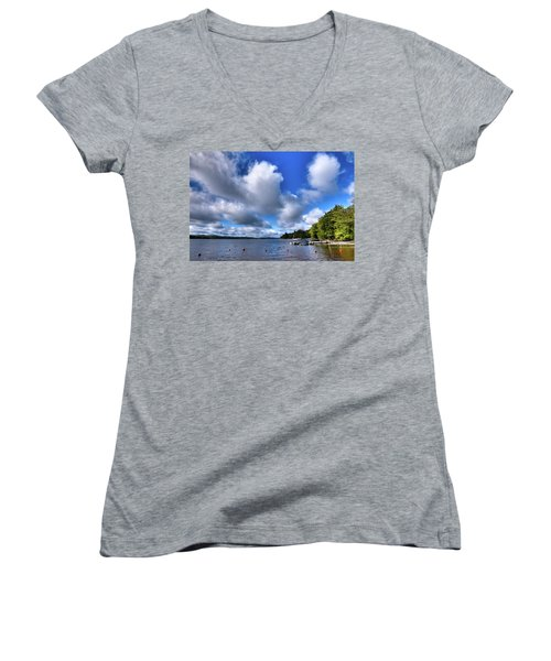 Women's V-Neck T-Shirt featuring the photograph Clouds Over Palmer Point by David Patterson