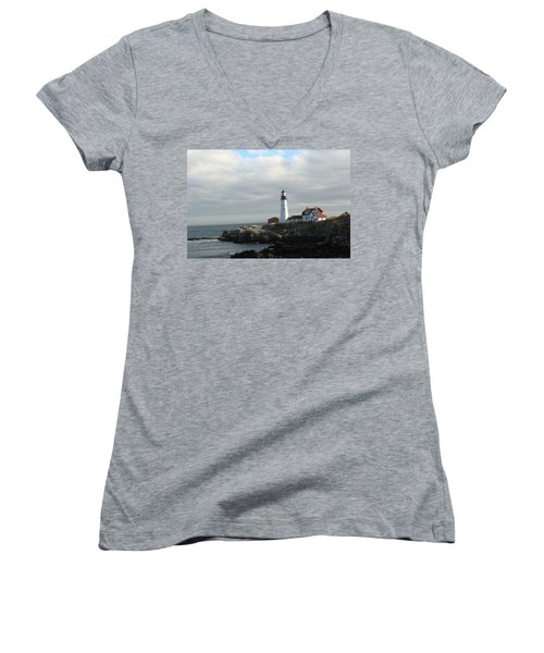 Clouds Over Portland Head Lighthouse 2 Women's V-Neck T-Shirt