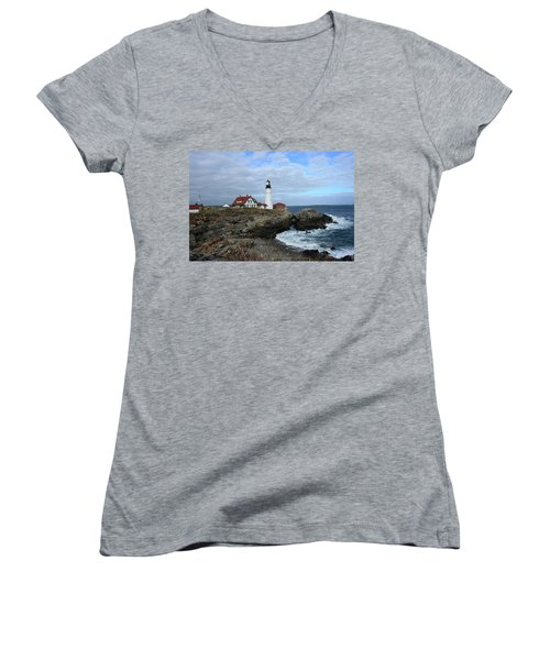 Clouds Over Portland Head Lighthouse Women's V-Neck T-Shirt