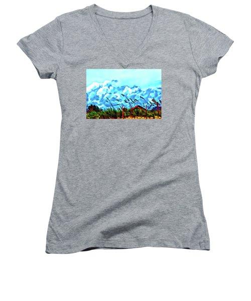 Clouds Over Vilano Beach Women's V-Neck T-Shirt
