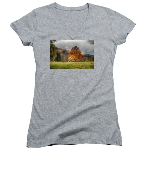 Clouds Part Over Marsh Billings-rockefeller Nhp Women's V-Neck