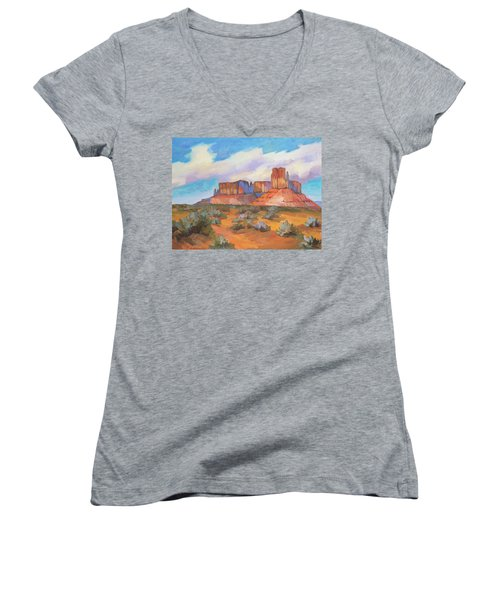 Women's V-Neck T-Shirt (Junior Cut) featuring the painting Clouds Passing Monument Valley by Diane McClary