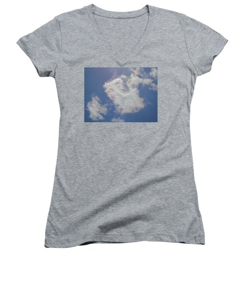 Clouds Rainbow Reflections Women's V-Neck T-Shirt (Junior Cut) by Cindy Croal