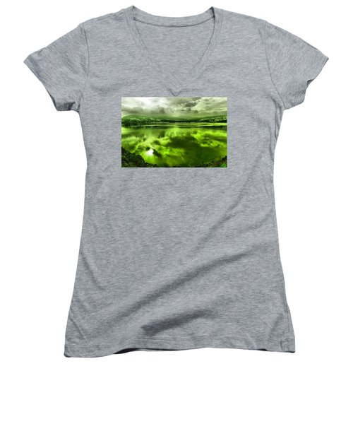 Women's V-Neck T-Shirt (Junior Cut) featuring the photograph Clouds Reflecting Off The Columbia  by Jeff Swan