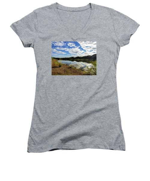 Clouds Reflecting On The Uruguay River Women's V-Neck