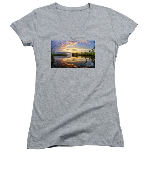 Clouds Reflections Women's V-Neck (Athletic Fit)