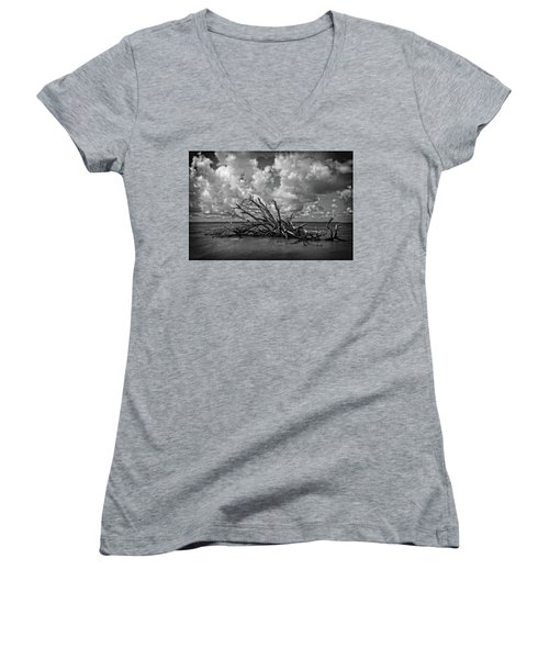 Women's V-Neck T-Shirt featuring the photograph Clouds Trees Water by Alan Raasch