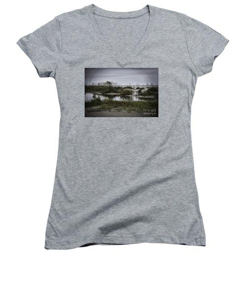 Women's V-Neck T-Shirt (Junior Cut) featuring the photograph Cloudy Beach Day by Judy Wolinsky