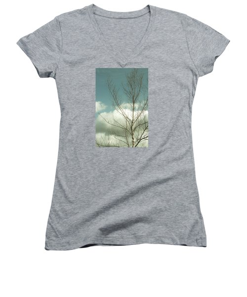 Women's V-Neck T-Shirt (Junior Cut) featuring the photograph Cloudy Blue Sky Through Tree Top No 2 by Ben and Raisa Gertsberg