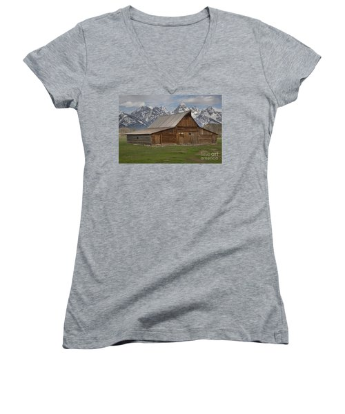 Cloudy Day At The Moulton Barn Women's V-Neck T-Shirt (Junior Cut) by Adam Jewell