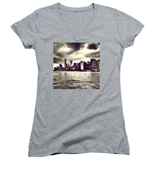 Cloudy Day In #nyc Women's V-Neck (Athletic Fit)