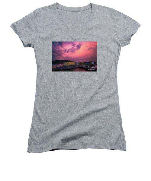 Cloudy  Women's V-Neck T-Shirt (Junior Cut) by Mariusz Czajkowski