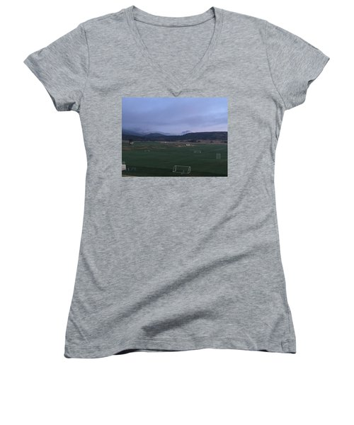 Women's V-Neck T-Shirt (Junior Cut) featuring the photograph Cloudy Morning At The Field by Christin Brodie
