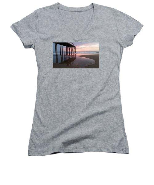 Cloudy Morning Reflections Women's V-Neck T-Shirt (Junior Cut) by Robert Banach