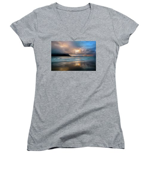 Cloudy Sunset At Hanalei Bay Women's V-Neck