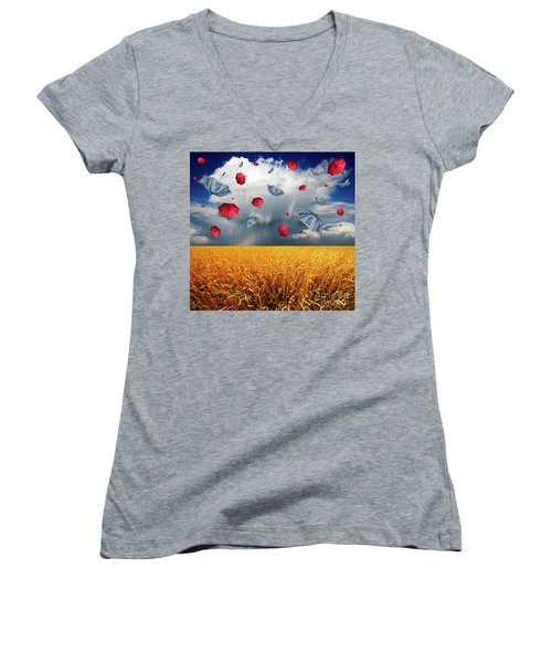 Cloudy With A Chance Of Umbrellas Women's V-Neck (Athletic Fit)