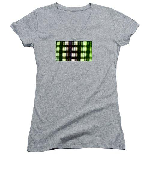 Women's V-Neck T-Shirt (Junior Cut) featuring the photograph Clouseup Of The Plasma Tv Screen by Odon Czintos