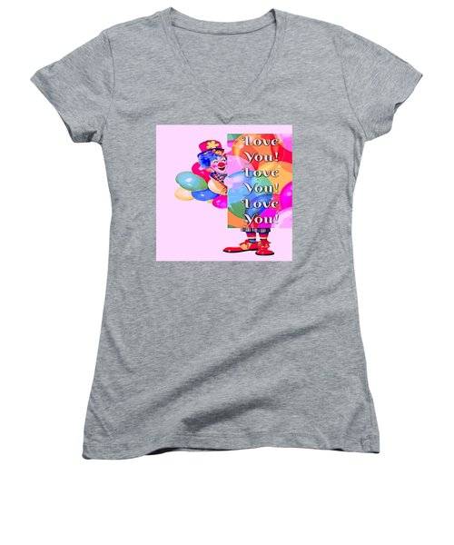 Clown Balloons Love You Women's V-Neck (Athletic Fit)