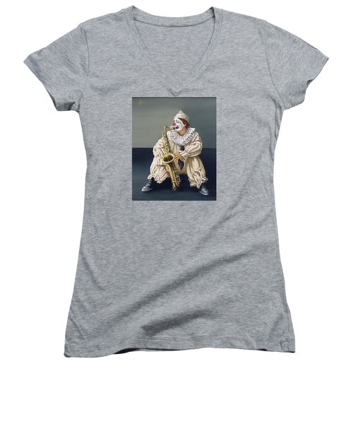 Women's V-Neck T-Shirt (Junior Cut) featuring the painting Clown by Natalia Tejera