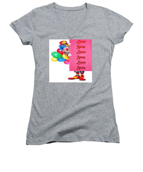 Clown With Love You Poster And Baslloons Women's V-Neck (Athletic Fit)