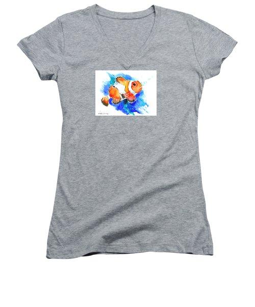 Clownfish Women's V-Neck T-Shirt (Junior Cut) by Suren Nersisyan