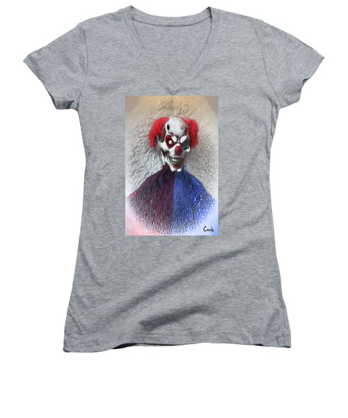 Women's V-Neck T-Shirt (Junior Cut) featuring the digital art Clownitis by Terry Cork