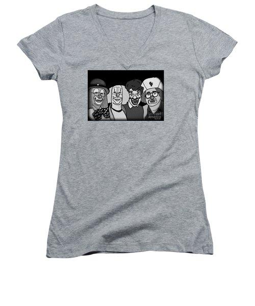 Clowns Bw Women's V-Neck T-Shirt (Junior Cut) by Megan Dirsa-DuBois