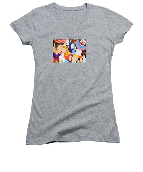 Send In The Clowns Women's V-Neck (Athletic Fit)