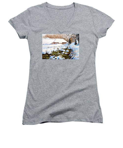 Clubhouse In Winter Women's V-Neck T-Shirt