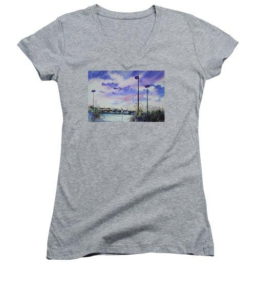Coastal Beach Highway Women's V-Neck T-Shirt (Junior Cut) by P Anthony Visco