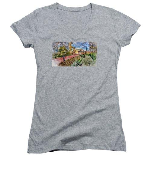Coastal Carolina University Digital Watercolor Women's V-Neck T-Shirt (Junior Cut) by David Smith