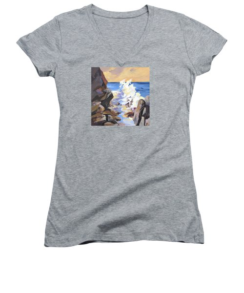 Women's V-Neck T-Shirt (Junior Cut) featuring the painting Coastal Edge by Rae Andrews