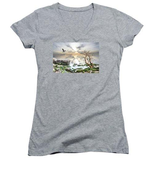 Coastal Landscape  Women's V-Neck T-Shirt (Junior Cut) by Angel Jesus De la Fuente