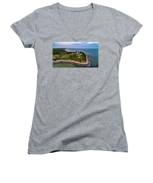 Coastal Nobska Point Lighthouse Women's V-Neck (Athletic Fit)