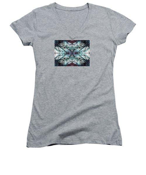 Coastal Rocks Brillig Turquoise Kaleidoscope Effect Women's V-Neck T-Shirt (Junior Cut) by Joy Nichols