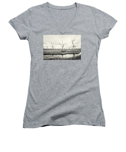 Women's V-Neck T-Shirt (Junior Cut) featuring the photograph Coastal Skeletons by Andy Crawford