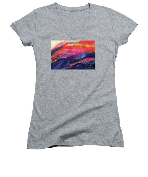 Women's V-Neck T-Shirt (Junior Cut) featuring the painting Coatings And Deposits Of Color by Kathy Braud