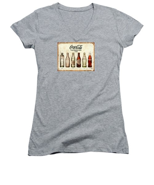 Coca-cola Bottle Evolution Vintage Sign Women's V-Neck T-Shirt