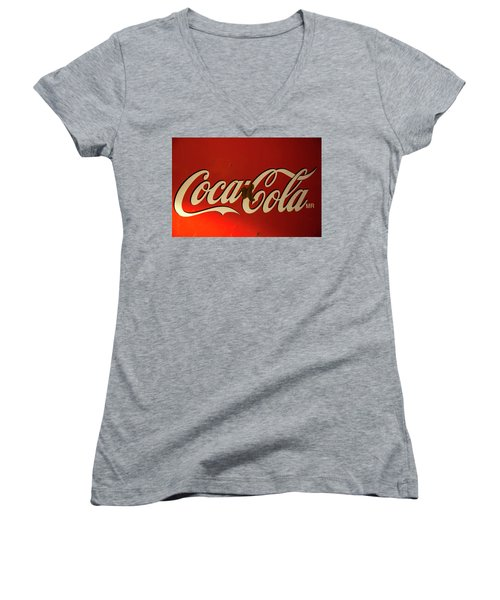 Women's V-Neck T-Shirt (Junior Cut) featuring the photograph Coca-cola Sign  by Toni Hopper